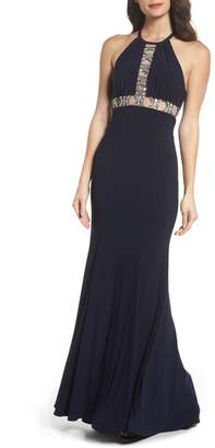 Xscape Evenings Embellished Halter Mermaid Gown