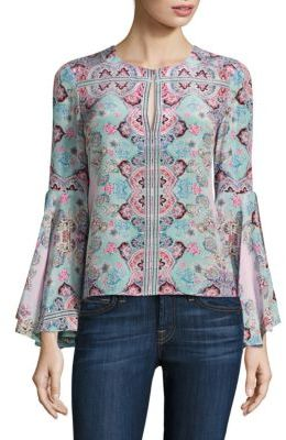 Nanette Lepore Other World Floral Silk Bell Sleeves Top $378 thestylecure.com
