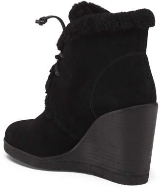 Stack Wedge Suede And Shearling Booties