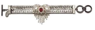 Venna Glass crystal heart fringe bracelet