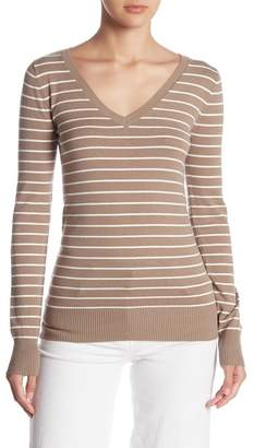 Abound Striped V-Neck Pullover Sweater