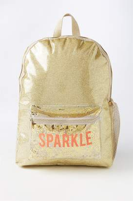 Cotton On Gold Glitter Sparkle School Backpack