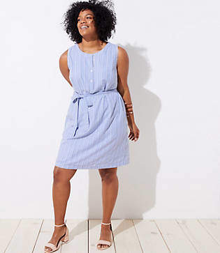 LOFT Plus Striped Tie Waist Henley Dress