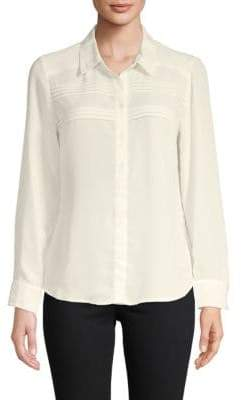 Nanette Lepore Pleated Chiffon Button-Down Shirt