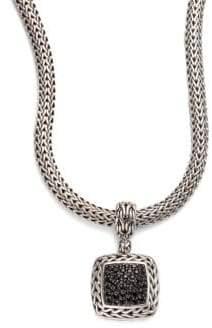 John Hardy Classic Chain Black Sapphire& Sterling Silver Medium Square Pendant