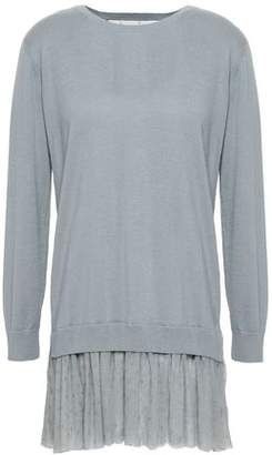 RED Valentino Inox Point D'esprit-Trimmed Cashmere And Silk-Blend Sweater