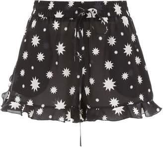 RED Valentino Star Print Ruffled Hem Shorts