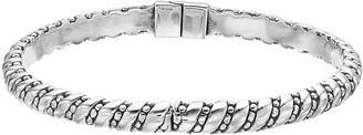Sterling Silver Textured Hinge Bangle Bracelet
