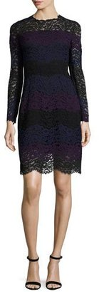 Elie Tahari Ophelia Striped Lace A-Line Dress, Jasmine Multi $498 thestylecure.com