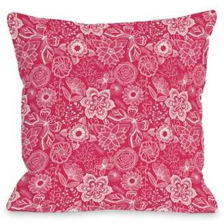 One Bella Casa Kiley floral bright bright red - Red 16x16 Pillow by OBC
