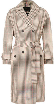 Maje Prince Of Wales Checked Twill Trench Coat - Beige
