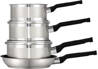 John Lewis & Partners Two Tone Stainless Steel Pan Set, 4 Piece