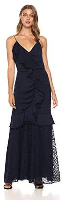 Keepsake The Label Women's All Night Sleeveless V Neck Gown with Lace Ruffle Detail