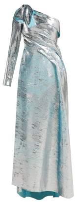 Halpern Asymmetric Metallic Plisse Gown - Womens - Silver