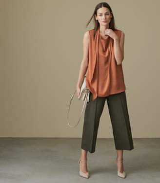 5e2d794e542 Free Returns at Reiss · Reiss NARA CROPPED WIDE LEG TROUSERS Military Green
