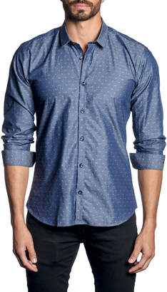 Jared Lang Men's Printed Long-Sleeve Button-Down Cotton Shirt