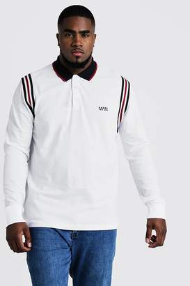 BoohoomanBoohooMAN Mens White Big & Tall Polo With Tape Detail, White
