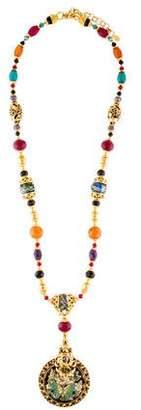 Jose & Maria Barrera Long Beaded Butterfly Motif Pendant Necklace