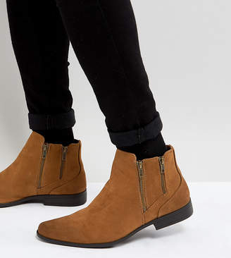 Asos DESIGN Wide Fit Chelsea Boots With Zip Detail In Tan Faux Suede
