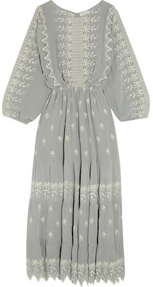 LoveShackFancy - Cecile Embroidered Silk-georgette Maxi Dress - Light gray $545 thestylecure.com