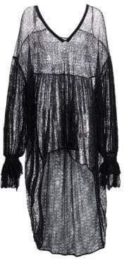 Saint Laurent Women's Victorian Sheer High-Low Coverup - Black - Size Large