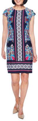 Liz Claiborne Cap Sleeve Pattern Shift Dress