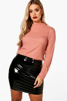 boohoo Plus Ribbed High Neck Top