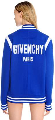 Givenchy Logo Embroidered Wool Knit Bomber Jacket