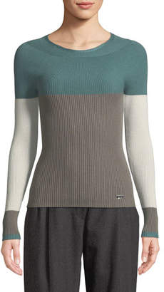 Emporio Armani Crewneck Long-Sleeve Colorblocked Ribbed Knit Top