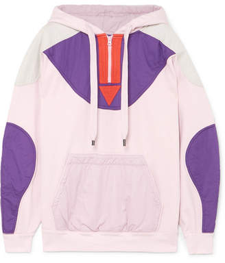 Etoile Isabel Marant Nansel Paneled Cotton-blend Jersey And Twill Hoodie - Pink