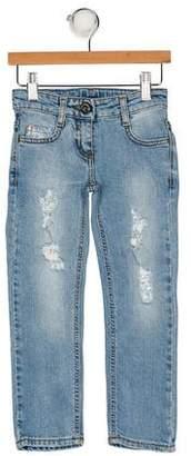 Miss Blumarine Girls' Distressed Five Pocket Jeans