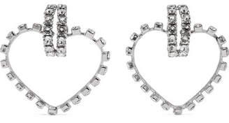 Saint Laurent Silver-tone Crystal Clip Earrings