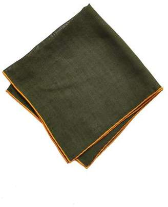 Drakes Drake's Green Solid Wool and Silk Pocket Square with Shoestring Border