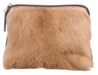 3.1 Phillip Lim Leather Ponyhair-Trimmed Clutch