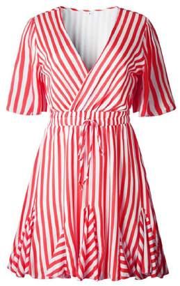Goodnight Macaroon 'Neom' Striped Wrap Mini Dress (6 Colors)