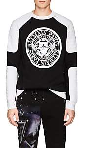 Balmain Men's Logo Cotton Moto Sweatshirt-Black