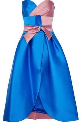 Milly Haley Cutout Two-tone Duchesse-satin Midi Dress