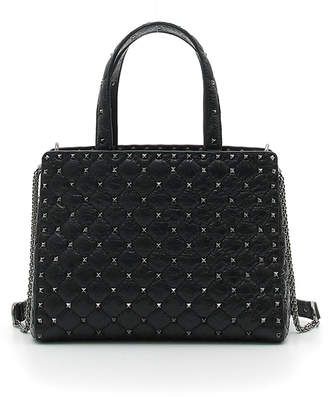Valentino Rockstud Spike Quilted Leather Tote Bag