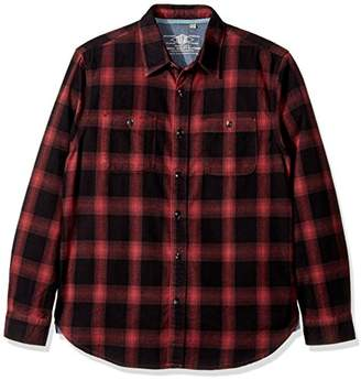 True Grit Men's Roadtrip Plaid Long Sleeve Two Pocket Heather Flannel Shirt