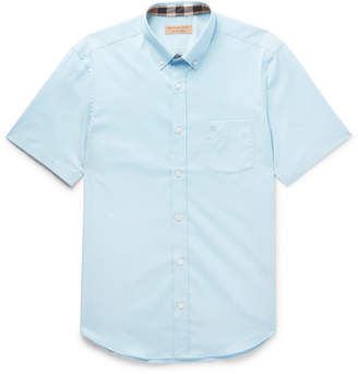 Burberry Button-Down Collar Stretch-Cotton Poplin Shirt - Blue