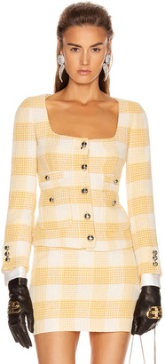 Alessandra Rich Round Neck Check Tweed Jacket in Yellow | FWRD