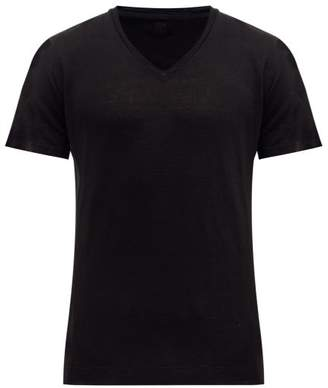 120% Lino V Neck Slubbed Linen Jersey T Shirt - Mens - Black