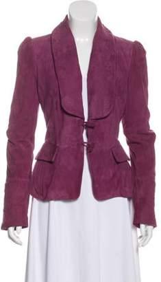 Ungaro Suede Embroidered Jacket Magenta Suede Embroidered Jacket