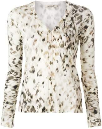 Roberto Cavalli snow leopard print cardigan