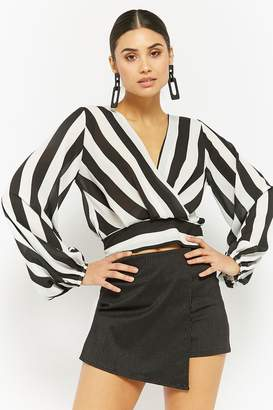Forever 21 Striped Chiffon Surplice Top