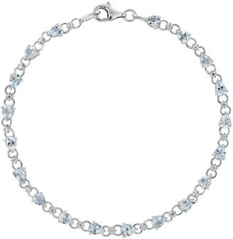 "Sterling Pear-Shaped Aquamarine 7"" Bracelet"
