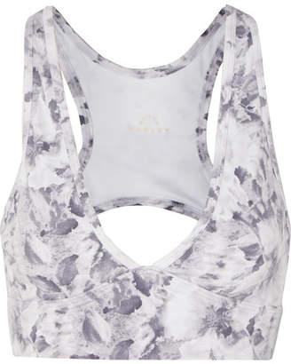 Varley Walsh Cutout Floral-print Stretch Sports Bra - White