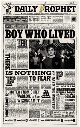 Harry Potter Daily ProphetTM Boy Who Lived Premium Print