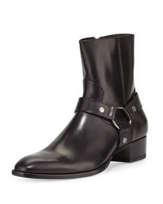 Saint Laurent Wyatt Leather Harness Boot, Black $1,095 thestylecure.com