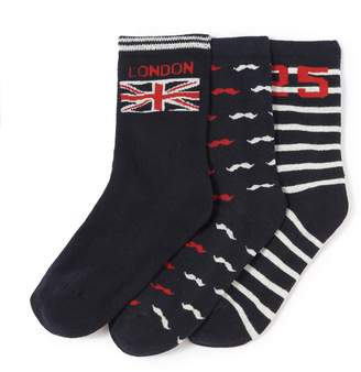 La Redoute Collections Pack of 3 London Themed Patterned Socks